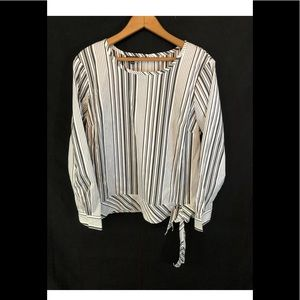 Talbots striped blouse size large NEW!